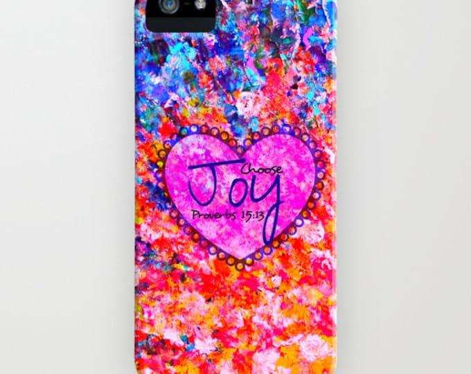 CHOOSE JOY Proverbs iPhone 6 7 8 X Xr Xs Max 11 Pro Case Samsung Galaxy Ombre Christian Art Heart Orange Blue Abstract Scripture Bible Verse