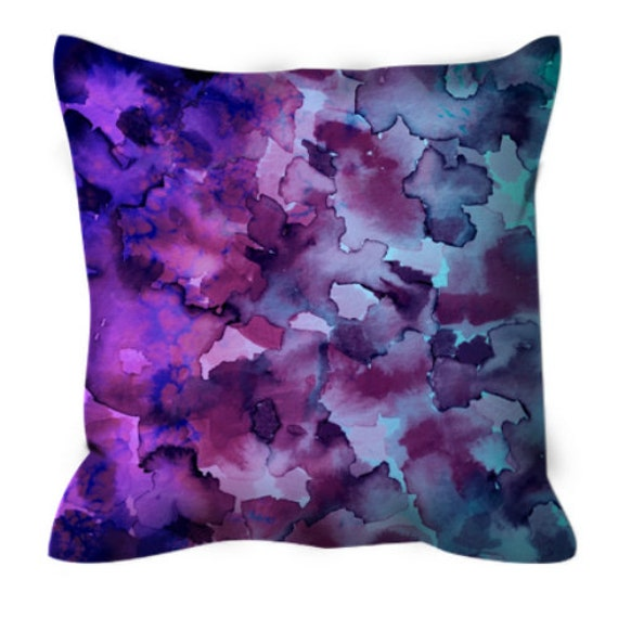 COLOR ME FLORAL 5 Ombre Aqua Purple Art Suede Throw Pillow Cushion Cover 18x18 20x20 26x26 Floral Pattern Turquoise Blue Watercolor Decor
