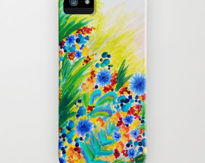 NATURAL ROMANCE Floral iPhone X 11 Pro Max Case Samsung Galaxy S9 S10 S20 S21 Cover Summer Rainbow Garden Abstract Flowers Girly Painting