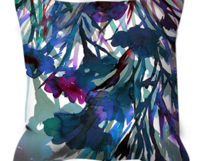 PETALS IN MOTION 2, Blue Flowers Watercolor Suede Throw Pillow Cushion Cover 18x18 20x20 26x26 Colorful Abstract Art Indigo Floral Decor