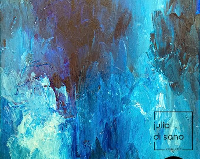 FLOCK, Splash Abstract Ocean Painting Waves Art Coastal Painting 12x14 Small Original Canvas Wall Art Feathers Modern Sea Blue Turquoise