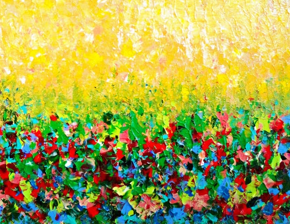 NATURES LIVING ROOM Beautiful Fine Art Digital Print Bold Bright Colors, Rainbow Floral Textural Painterly Abstract Acrylic Painting Style