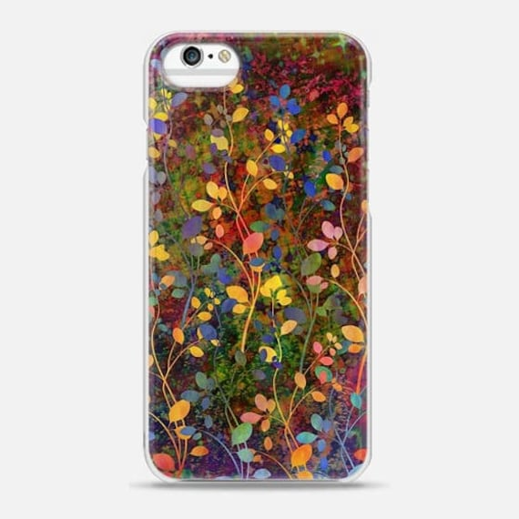 AMONGST THE FLOWERS Rainbow Floral Abstract iPhone 5s Se 6 7 8 Plus X Xr Xs Max Case Samsung Galaxy Hard Phone Autumn Olive Green Painting