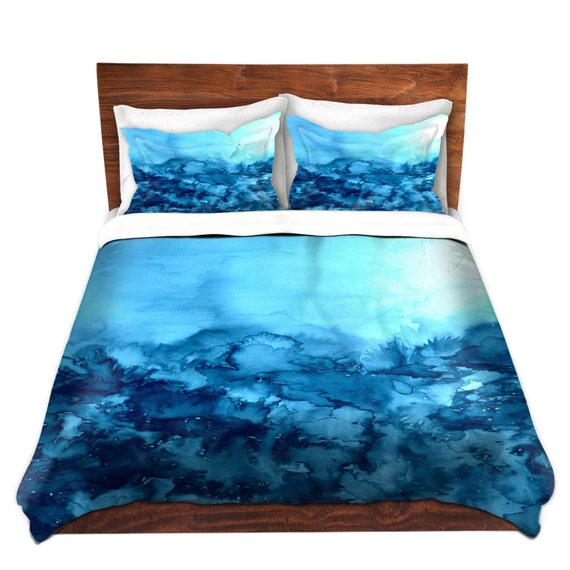 TURQUOISE Blue Fine Art Duvet Covers, King Queen Twin Nature Floral Watercolor Monochrome Home Decor Bedding Home Decor Colorful Bedroom