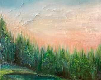 WOODLAND RETREAT Original Nature Large 24x30 Acrylic Painting on Canvas Colorful Green Pink Blue Fine Art Trees Sky Contemporary Home Decor