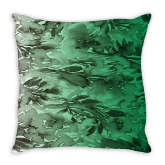 FLORAL DESTINY, GREEN Ombre Emerald Greenery Gray Botanical Flowers Pattern Art Suede Throw Pillow Cover Colorful Pantone 2017 Decor Cushion