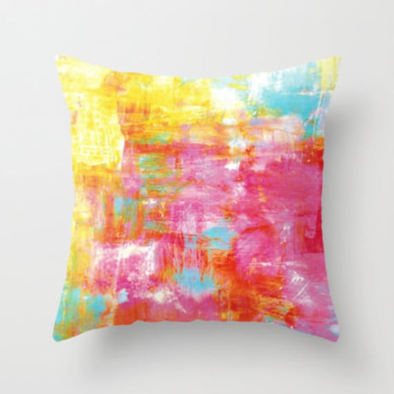 OFF THE GRID 2 Pastel Neon Hot Pink Yellow Turquoise 16x16 18x18 20x20 Abstract Art Throw Pillow Cover Decorative Watercolor Painting Decor