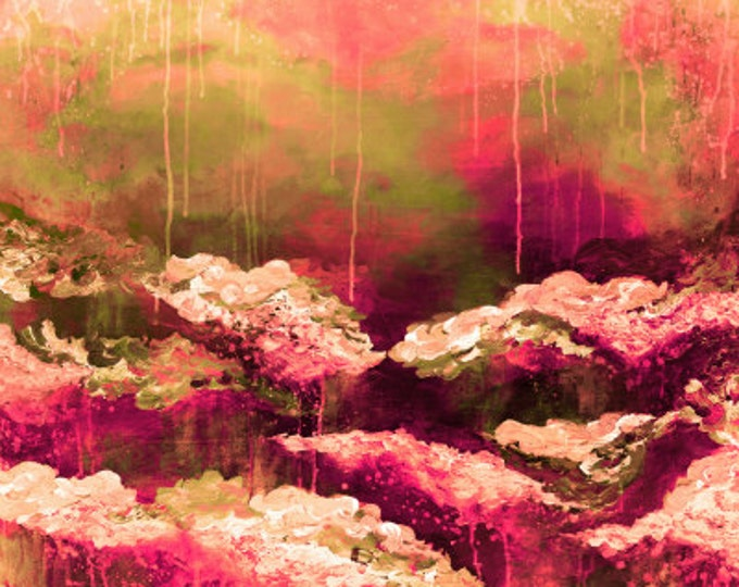 ROSE COLORED LIFE 2 Floral Fine Art Digital Giclee Print Abstract Acrylic Painting Burgundy Maroon Hot Pink Olive Green Flowers High Quality