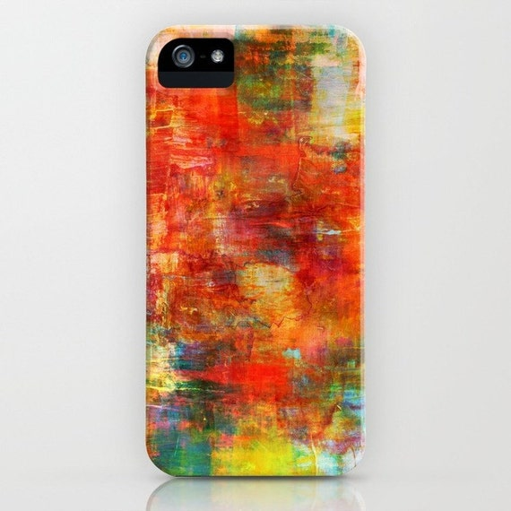 AUTUMN HARVEST Abstract iPhone 5 SE 6 7 8 X Xr Xs Max Case Samsung Galaxy Colorful Rust Orange Green Fall Painting Phone Hard Plastic Case