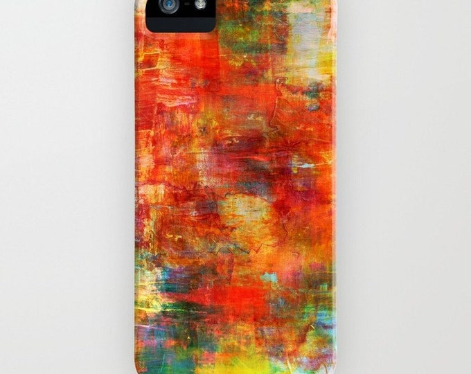 AUTUMN HARVEST Abstract iPhone X Xr Xs Max 11 12 Pro Case Samsung Galaxy S9 S10 S20 S21 Colorful Rust Orange Green Fall Painting Phone Cover