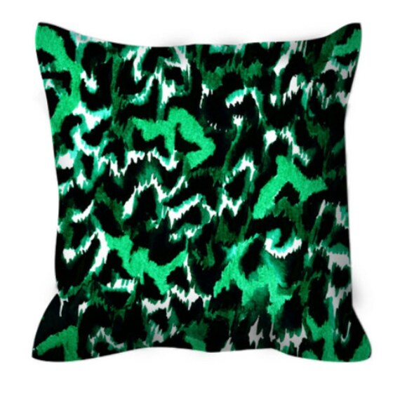 WILD AT HEART Green Black Fine Art Leopard Suede Throw Pillow Cover Abstract Pattern Animal Print Modern Decor Watercolor Painting Cushion