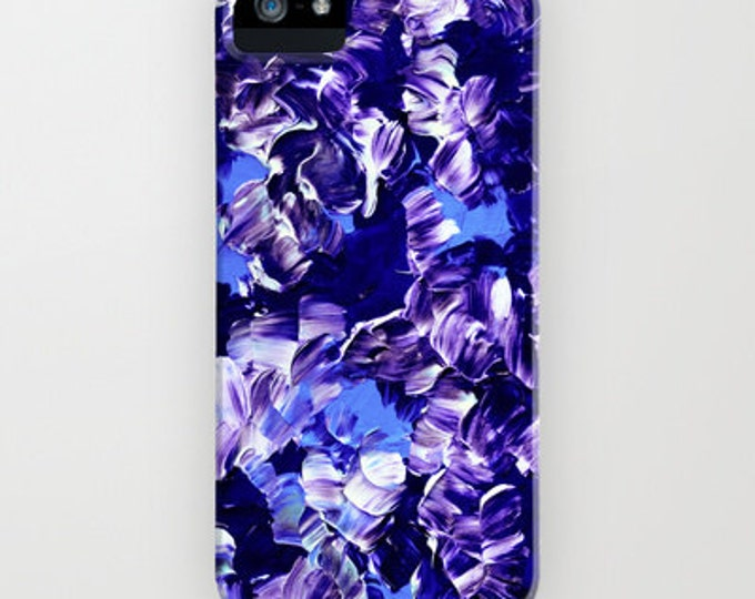 FLORAL FANTASY 2 iPhone X Xr Xs 11 12 Pro Max Samsung Galaxy S10 S20 S21 Sasmung Note Purple Blue Abstract Floral Girly Flower Pattern Cover