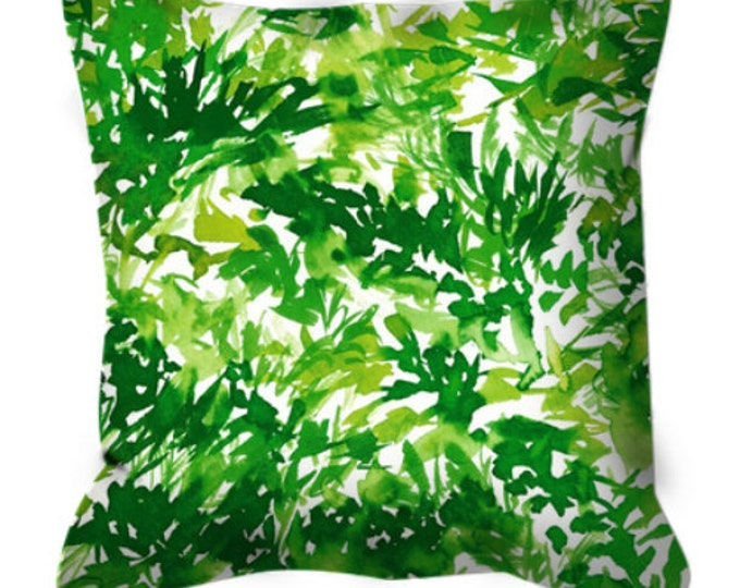 IN THE MEADOW 1 Green White Botanical Floral Pattern Art Suede Throw Pillow Cover Colorful Nature Greenery Lime Pantone 2017 Decor Cushion