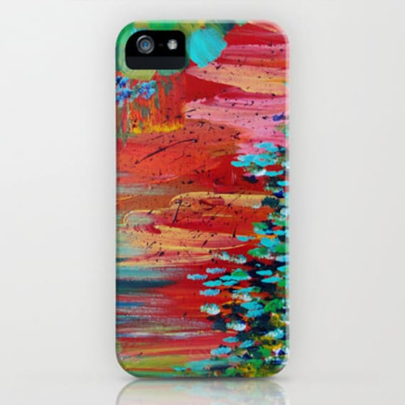 REVISIONED RETRO Red Green Abstract iPhone 5 SE 6 7 8 X Xr Xs Max Case Samsung Galaxy Cell Phone Bold Colorful Colorful Painting Fine Art