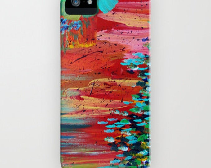 REVISIONED RETRO Red Green Abstract iPhone 12 Pro Max Case iPhone 11 X Xs Samsung Galaxy S10 S20 S21 Samsung Note Colorful Art Phone Cover
