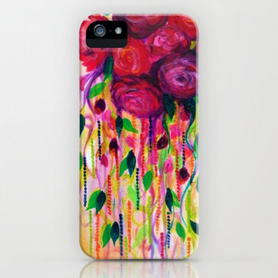 ROSES Are RAD Floral iPhone 11 Pro Max iPhone 6 7 8 X Xr Xs Samsung Galaxy Case Lovely Red Pink Rose Abstract Art Painting Protective Cover