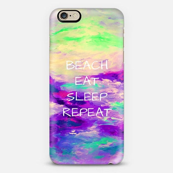 BEACH EAT SLEEP Repeat, Purple Coastal iPhone 5 Se 6 7 8 X Xr Xs Max Case Samsung Galaxy Summer Typography Boho Chic Art Ocean Waves Mermaid