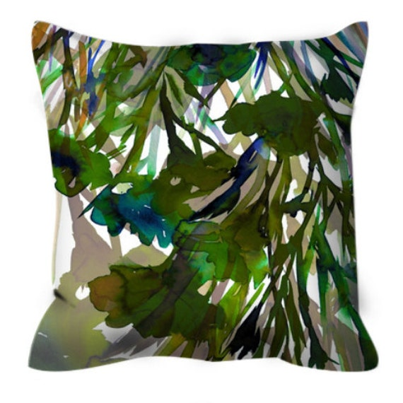 PETALS in MOTION GREEN Olive Blue Floral Colorful Art Suede Throw Pillow Cover Nature Greenery Abstract Flowers Pantone 2017 Decor Cushion