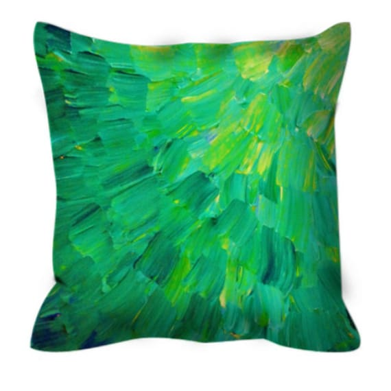 SEA SCALES in GREEN Fine Art Decorative Suede Throw Pillow Abstract Acrylic Painting Ombre Peacock Feathers Ocean Waves Dorm Room Home Decor