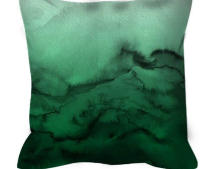 WINTER WAVES 7 Green Ombre Watercolor Art Suede Throw Pillow Cover 20x20 26x26 Abstract Xmas Emerald Jade Forest Green Chic Decor Cushion