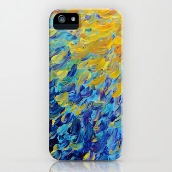AQUATIC MELODY Ocean Waves Ombre iPhone 5 SE 6 7 8 Plus X Xr Xs Max Case Samsung Galaxy Phone Cover Beach Colorful Blue Peacock Feathers Art