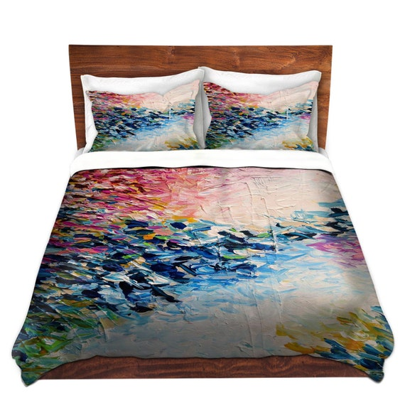 PARADISE DREAMING Fine Art Duvet Covers King Queen Twin Size Feminine Decor Bedding Girly Abstract Colorful Nature Rainbow Pink Blue Bedroom