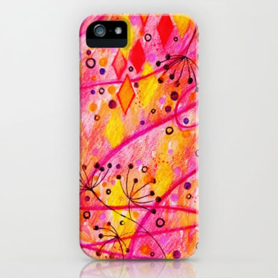 INTO THE FALL Floral iPhone 5 6 7 8 X Xr Xs Max 11 Case Samsung Galaxy Case Abstract Autumn Watercolor Painting Cell Phone Hard Plastic Case