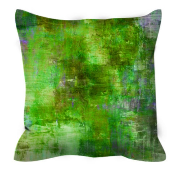 GREEN MEADOWS Greenery Abstract Botanical Floral Pattern Art Suede Throw Pillow Cover Colorful Nature Lime Olive Pantone 2017 Decor Cushion