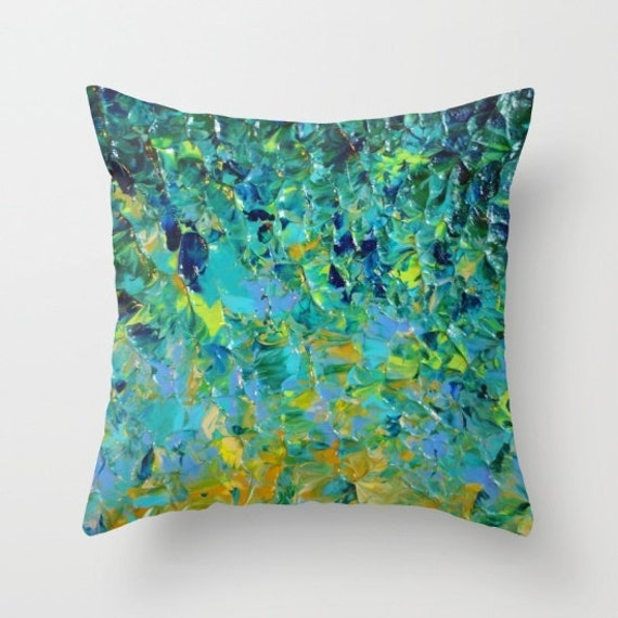 BEAUTY BENEATH PILLOW Cover 16x16 18x18 20x20 Colorful Abstract Painting Art Ocean Ombre Waves Beach Teal Emerald Green Blue Yellow Splash