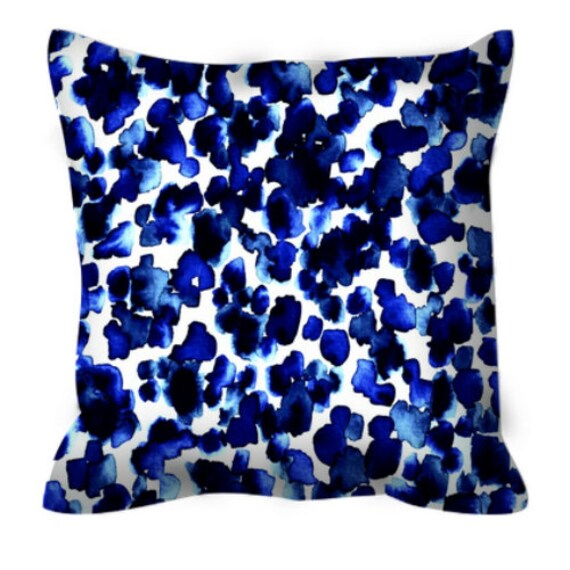 GIRAFFE SPOTS Indigo China Blue White Polka Dots Art Suede Throw Pillow Cover 18x18 26x26 Animal Print Abstract Watercolor Sea Decor Cushion