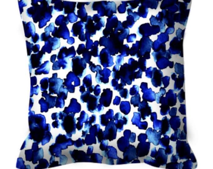 GIRAFFE SPOTS Indigo China Blue White Polka Dots Art Suede Throw Pillow Cover 18x18 26x26 Animal Print Abstract Watercolor Sea Decor Cushion