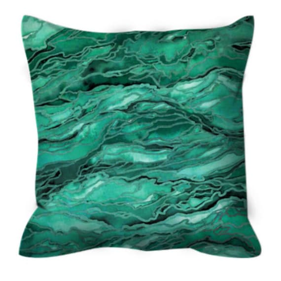 MARBLE IDEA, GREEN Watercolor Emerald Suede Throw Pillow Cushion Cover 18x18 20x20 26x26 Colorful Mint Malachite Agate Geode Granite Decor