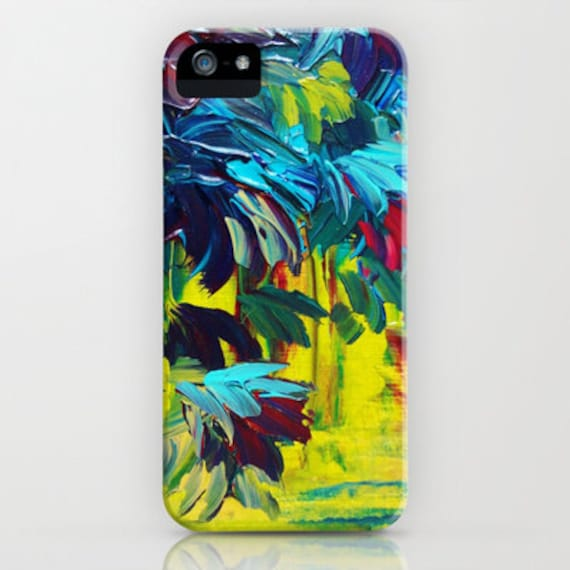 FLORA Abstract Colorful Floral iPhone 5 SE 6 6s 7 8 Plus X Case Samsung Galaxy Phone Cover Flowers Neon Citron Yellow Turquoise Burgundy