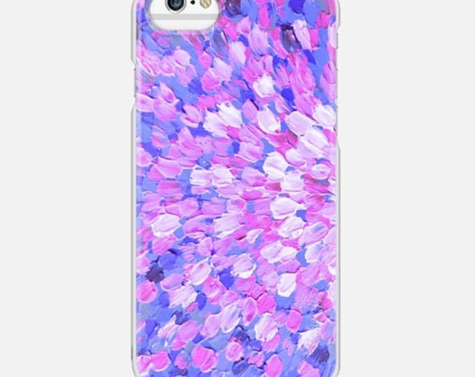 SPRING SPLASH Pink Lavender Blue Colorful Ocean Waves iPhone 8 X Xs Max 11 Pro Max Case Samsung Galaxy S9 S0 S20 S21 Girly Abstract Painting