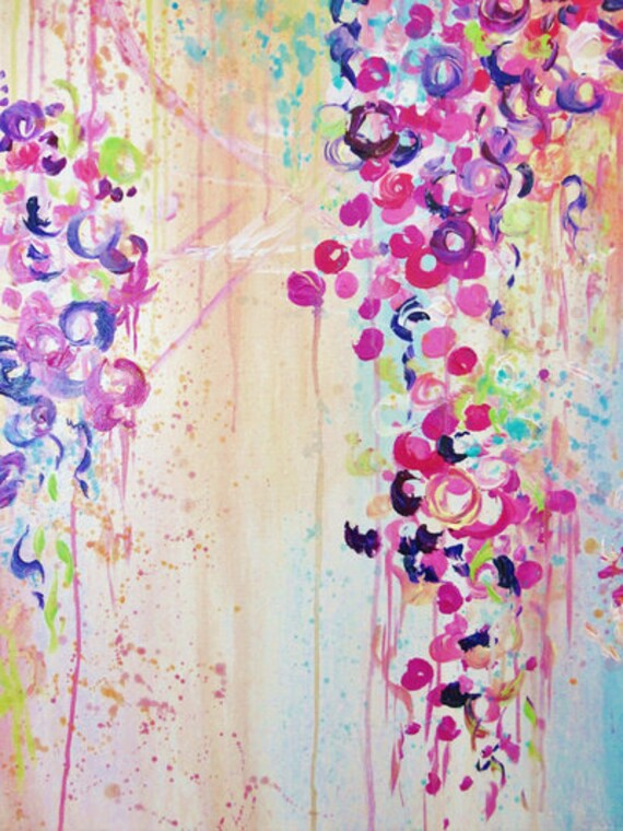 DANCE of the SAKURA Floral Fine Art Print Gorgeous Abstract Acrylic Painting Cherry Blossoms Pink Purple Bouquet Feminine Flowers Wall Decor