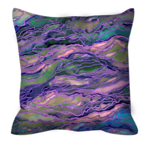 MARBLE IDEA, LAVENDER Suede Throw Pillow Cover Pink Peach Purple Green Pattern Art Geological Agate Natural Colorful Watercolor Girly Decor