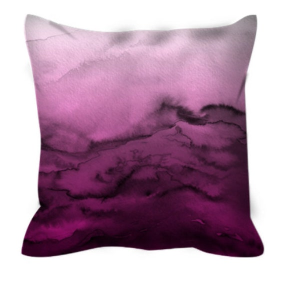WINTER WAVES 5 Magenta Fuchsia Rose Pink Ombre Watercolor Art Suede Throw Pillow Cover 20x20 26x26 Abstract Girly Cool Chic Decor Cushion