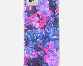 FLORAL FANTASY, Pink Blue Purple Flowers, iPhone 12 Pro Max 8 X 11 Case Samsung Galaxy S8 S9 S10 S20 S21 Phone Cover Painting Pretty Pattern