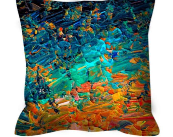 ETERNAL TIDE 2 Rainbow Ombre Colorful Art Suede Throw Pillow Cushion Cover 18x18 20x20 26x26 Abstract Ocean Blue Aqua Orange Nautical Decor