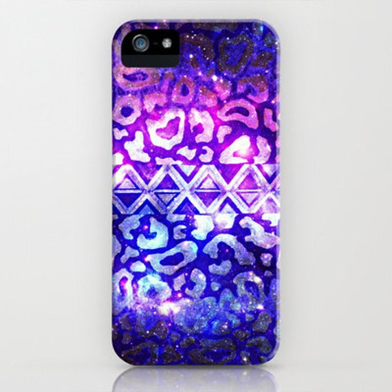 TRIBAL LEOPARD Galaxy iPhone 5 SE 6 7 8 X Xr Xs Max Case Samsung Galaxy Feminine Ombre Space Nebula Stars Galactic Native Aztec Animal Print