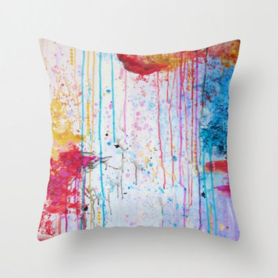 HAPPY TEARS Decorative Throw Pillow Cover 16x16 18x18 20x20 Art Cushion Abstract Painting, Drip Splat Bold Pink Red Purple Spring Decor