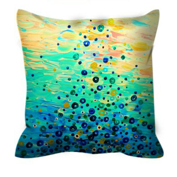WHAT GOES UP - Fine Art Decorative Suede Throw Pillow Cover Abstract Acrylic Painting Bubbles Peach Turquoise Blue Feminine Dorm Home Decor
