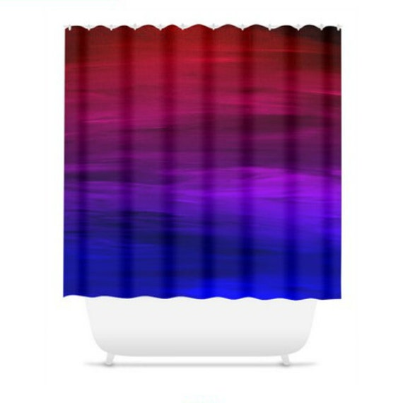 ETERNAL SUNSET, Fine Art Blue Red Colorful Shower Curtain Washable Ombre Abstract Ocean Waves Magenta Purple Home Decor Bold Modern Bathroom