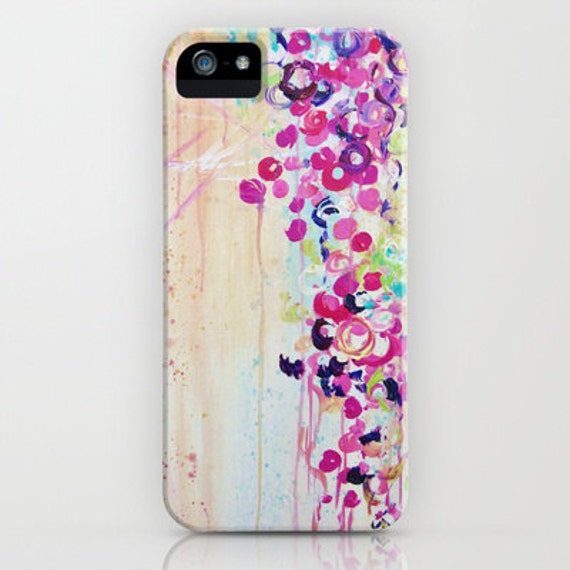 DANCE of the SAKURA Girly Floral iPhone 5s SE 6 6s 7 8 X Xr Xs Max Case Samsung Galaxy Hard Phone Pink Cherry Blossoms Abstract Painting