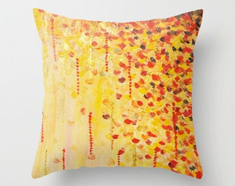 WHEN IT FALLS Abstract Art Throw Pillow Cover 16x16 18x18 20x20 Autumn Winter Leaves Colorful Yellow Orange Red Painting Christmas Gold Gift