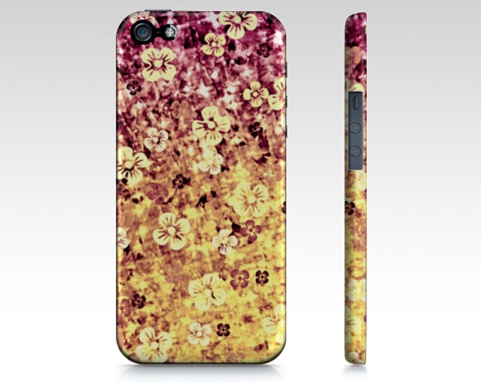 FLOWER POWER Floral Ombre iPhone X Xr Xs Max 11 Pro Max Case Samsung Galaxy S10 S20 S21 Case Cover Purple Plum Yellow Abstract Art Flowers