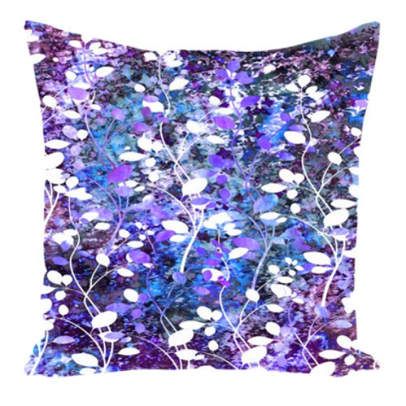 AMONGST THE FLOWERS, Violet Purple Blue Art Suede Throw Pillow Cushion Cover 18x18 20x20 26x26 Abstract Floral Chic Modern Decor Painting