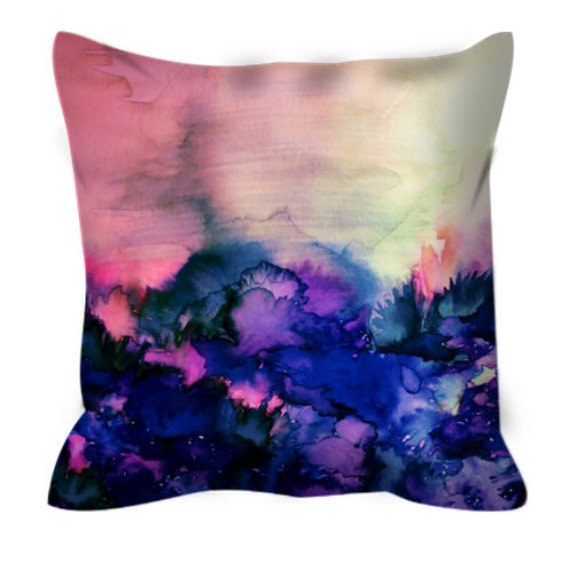 INTO ETERNITY Pink Indigo Blue Floral Art Suede Decorative Throw Pillow Cover Abstract Girly Watercolor Painting Modern Chic Decor Cushion