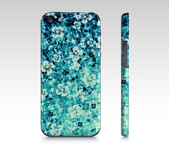 FLOWER POWER in BLUE, iPhone 6 7 8 Plus X Xr Xs Max Case Samsung Galaxy Case Turquoise Teal Ombre Abstract Art Cover Flowers Floral Painting