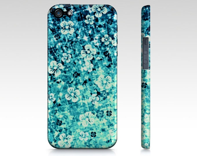 FLOWER POWER in BLUE, iPhone 7 8 X Xr Xs Max 11 12 Pro Max Case Samsung Galaxy S9 S10 S20 S21 Turquoise Teal Ombre Art Cover Flowers Floral